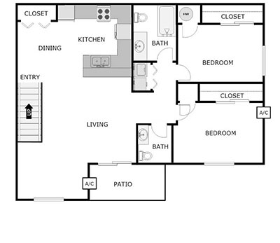 2 bed, 1.5 bath floor plan